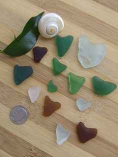 Fragments of hearts in genuine sea glass in by GlassAndSeaStones