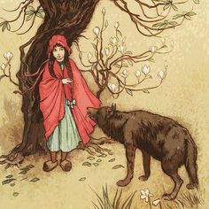 Shop Vintage Little Red Riding Hood by Warwick Goble Cloth Napkin created by YesterdayCafe. Personalize it with photos & text or purchase as is! Warwick Goble, Art Nouveau, Art Deco, Charles Perrault, Woodland Fairy, Red Riding Hood, Little Red, Watercolor Illustration, Fairy Tales
