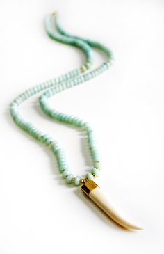 AMAZONITE white buffalo horn necklace by shopkei on Etsy, $138.00