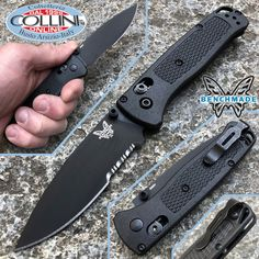 #Benchmade #Bugout #Knife #Axis #Black #Serrated #coltello Benchmade Knives, Tactical Knives, Military Knives, Outdoor Knife, Knives And Tools, Black, Collection, Black People, Tactical Knife