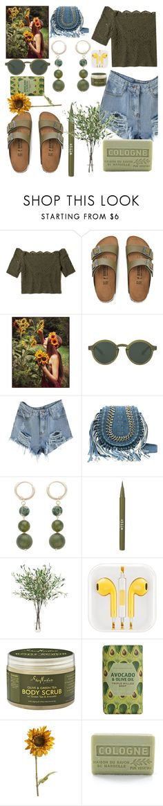 """""""Olive and denim"""" by sacredminds ❤ liked on Polyvore featuring Hollister Co., Birkenstock, Stila, NDI, SheaMoisture, Pier 1 Imports and Branche d'Olive"""