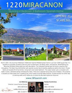 $80,000 PRICE REDUCTION! Stunning Single Level 4 Bedroom 3 Bathroom Spanish Home  www.SBSpanish.com 805-689-0532 Jon  #JonMahoney #SantaBarbara #RealEstate