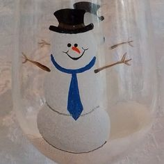 Blue Holiday Snowman hand painted wine glasses by GlassesbyJoAnne