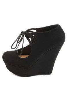 f421b97e10c6 Cut-Out Lace-Up Mary Jane Platform Wedges  Charlotte Russe