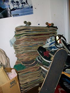skateboards. wonder if he has a plan for all those, have seen a lot of neat things done with old boards lately