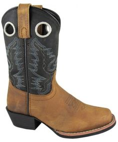 Youth Distressed Brown and Black Square Toe Cowboy Boot by Smoky Mountain Youth Cowboy Boots, Western Boots, Square Toe Boots, Black Square, Black Boys, Fashion Boots, Westerns, Brown, Playground
