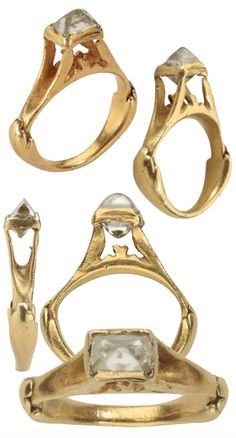 CLERCQ ROMAN OCTAHEDRAL DIAMOND RING Roman Empire, second half of the 3rd century to early 4th century AD Gold and rough diamond, from the Benjamin Zucker Family Collection. The 2nd largest known surviving rough #Roman #diamond ring!