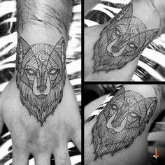 Nº91 Crystal Wolf #tattoo #wolf #geometric #geometry #lines #moon #bylazlodasilva (Design by Ramón Carrillo)