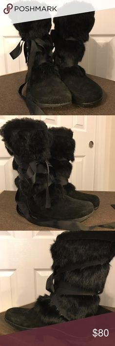 Spring Cleaning Earth Fur Black Boots Never Been Worn Earth Fur Boots. Clean/visible no wear bottoms of shoes. Materials: leather and fur upper. Faux fur lining and sock earth Shoes Winter & Rain Boots