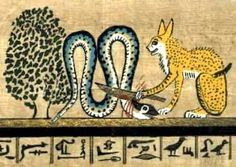 """The Persea tree,known to the Egyptians as the sacred """"Tree of Life"""" ~revered for it's sweet fragrance.Ancient Egyptians believed that fragrance in a blossom,leaf,fruit or resin indicated a God was present within that species.  Shown;Mau /Cat Goddess killing the evil snake god Apep-The tree shown on the left is the sacred Tree of Life - a Persea,which the Great Cat defends against Apep (the Serpent)"""