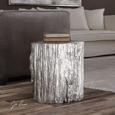 High Style And Natural Elements Come Together In This Textured Tree Stump Replica With A Bright Metallic Silver Finish.