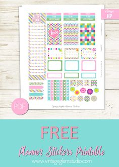Set of bright graphic themed planner stickers for the classic happy planner or other weekly view planners. Free for personal use only.