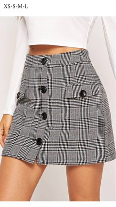 Button Up Flap Pocket Plaid Skirt -SheIn(Sheinside) Plaid skirt outfits ideas what to wear plaid skirts Skirt Outfits, Casual Outfits, Cute Outfits, Fashion Outfits, Plaid Skirts, Mini Skirts, Work Skirts, Fall Skirts, Short Dresses