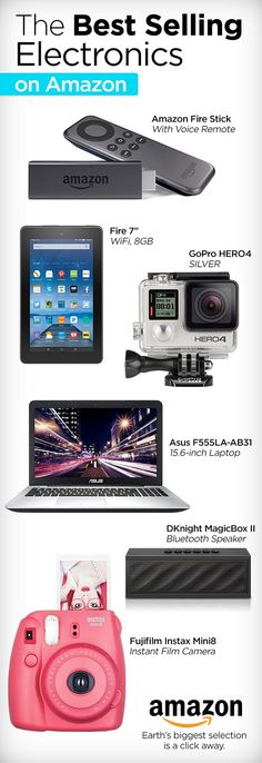 Gadgets galore, Amazon has the best electronics sure to satisfy the tech geek in all of us. Watch your favorite shows with Fire TV stick, show off your sweet moves with the GoPro Hero, stay connected with the Fire 7 tablet or capture those precious moments using the Fujifilm Instamax camera. We have made it easy, visit Amazon electronics today, the best is just one click away.