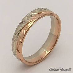 Traditional Hawaiian Hand Engraved 14k Gold Ring (4mm width, Flat Style)