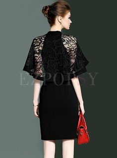Shop for high quality Elegant Caped-sleeve Zippered Sheath Dress online at cheap prices and discover fashion at Ezpopsy.com