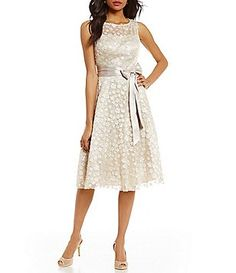 Jessica Howard Rosette Belted Fit-and-Flare Dress