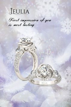 Jeulia Flower Design Round Cut Created White Sapphire Engagement Ring, which shows a great front view  like a flower... #Jeulia#Rings#Fashion