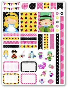 Alice in Wonderland Decorating Kit / Weekly Spread by PlannerPenny                                                                                                                                                                                 Mais
