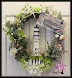 Lighthouse Wreath Beach Themed Wreath Summer by SugarTreeDecor