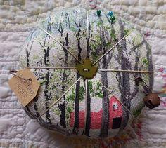 Primitive VTG Grandma Moses Bark Cloth Pin Keep Folkart Ornament Pin Cushion   #NaivePrimitive #auntiemeowsatticprims