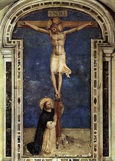 """Fra Angelico's """"St. Dominic Adoring the Crucifixion"""" (1440s); Convento de San Marco, Florence"""
