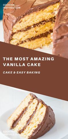 The Most Amazing Vanilla Cake is moist and flavorful and made completely from scratch. It's the best homemade vanilla cake you'll ever have! And it's easy to make too! cake The Most Amazing Vanilla Cake Best Vanilla Cake Recipe, Homemade Vanilla Cake, Homemade Frosting, Köstliche Desserts, Dessert Recipes, Vanilla Desserts, Healthy Cake Recipes, Pumpkin Spice Cupcakes, Cake Ingredients