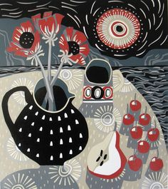 Spotted Jug, Pear and Cherries - linocut by Jane Walker – St. Jude's Prints