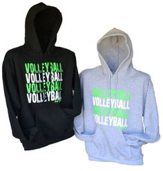 Volleyball Hoodies Gray and Black with neon green by BADSportz1, $30.00