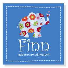 Zauberhaftes Elefanten-Namensbild zur Geburt, Taufe od...