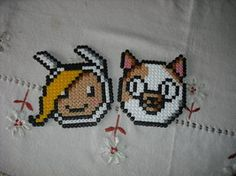 Aventure Time Hama Beads, this would be totally cool as cross stitch too.