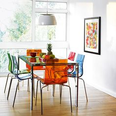 Contemporary glass colourful dining table set