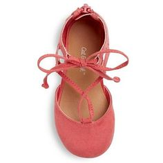 Toddler Girls' Tenley Ghillie Ballet Flats Cat & Jack - Coral (Pink) 12