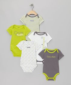 Another great find on #zulily! Gray & Yellow Star Branded Bodysuit Set - Infant by Calvin Klein Underwear #zulilyfinds