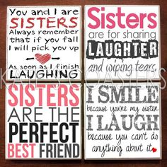 Set of 4 sister quotes ceramic tile coasters, $10, KatesCoasters
