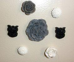 Black Gray White Owl & Flower Magnet Set of 7 Magnets locker home decor Refridgerator Cabochon rose dorm