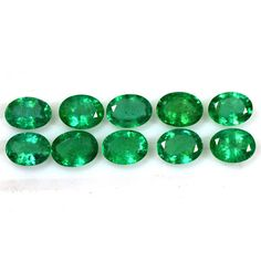 11.53 Cts Natural Top Green Emerald Gems Oval Cut Lot Untreated Zambia 8x6 mm $