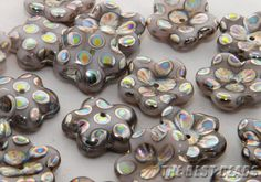 Opaque Grey with Clear Lines and Pil Spots Flowers Czech Glass Peacock Pressed Beads 16mm Art.37183