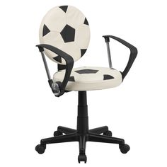Bring your favorite sport to the desk with this inspired office chair that is perfect for all young fans. The round seat and back resembles two balls that are upholstered in vinyl material for easy cl