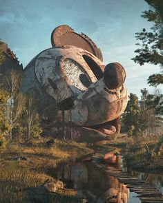 Drawing Illustrations of Pop Culture Characters and Objects Deserted in a Post-Apocalyptic World - A post shared by Filip Hodas ( on Nov 2017 at PST Prague artist Filip Hodas is back with part two of his Pop Culture Dystopia series Abandoned Amusement Parks, Abandoned Places, Los Angeles Zoo, Mickey Mouse, Classic Cartoon Characters, Famous Cartoons, Ancient Ruins, Cultura Pop, Post Apocalyptic