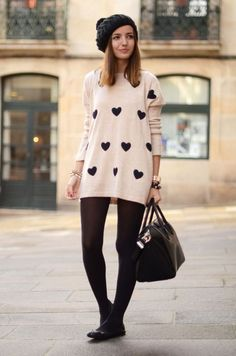 Oversized Shirt And Tights 2017 Street Style