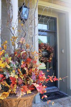 fall window box ideas | Elegant Fall Front Entry Decoratng