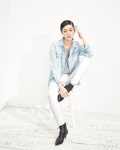 Summer is coming, and when it does you'll change out the kicky bootie for a slide and be pretty in pale until Labor Day.Tao Okamoto in a Lucky Brand shirt, Saint Laurent top, belt, and shoes, and Hudson jeansLucky Brand Tencel chambray shirt, $90luckybrand.comHudson Nico mid-rise super skinny in white, $145hudsonjeans.com