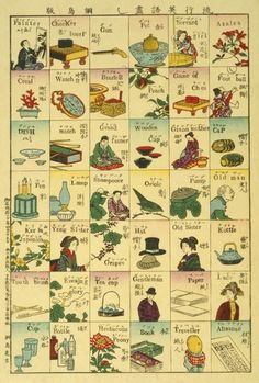 """A Japanese woodcut from a series by Kamekichi Tsunajima titled """"Ryūkō eigo zukushi"""", showing images of animals, activities and objects each with their Japanese and English names. (Image source: Library of Congress) Identity, Natural Form Art, Japanese Woodcut, Typography Alphabet, Branding, Blank Book, Japanese Prints, Japanese Design, Animals Images"""