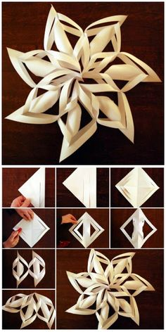 christmas crafts snowflakes Paper Snowflakes Craft With Easy Video Tutorial Diy Christmas Snowflakes, Snowflake Craft, Christmas Paper Crafts, Holiday Crafts, Christmas Diy, Christmas Decorations With Paper, Paper Snowflakes Easy, Snowflake Origami, Snowflake Decorations
