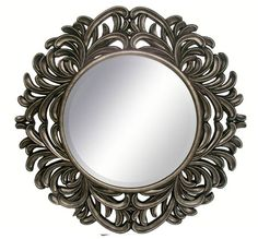 """""""Hudson"""" round pewter wall mirror with pierced flourishes from Bombay & Co. Unique Mirrors, Home Decor Mirrors, Round Mirrors, Wall Decor, Decorative Mirrors, Mirror Inspiration, Transitional Home Decor, Classic House, Home Accents"""