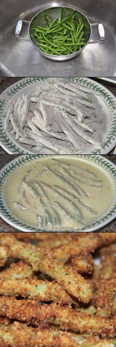 Green Bean Crisps - Better than French fries - Appetizer Recipes - I Love Food, Good Food, Yummy Food, Side Recipes, Vegetable Recipes, Healthy Snacks, Healthy Recipes, Vegetable Dishes, Food Dishes