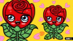 How to draw a Rose Kawaii - Designs For Valentines Day by Garbi KW Love Doodles, Kawaii, Painting Tips, Drawing Tips, Diy Art, Chibi, Valentines Day, Arts And Crafts, Rose