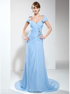 Mother of the Bride Dresses - $168.99 - A-Line/Princess Off-the-Shoulder Court Train Chiffon Mother of the Bride Dress With Ruffle Beading  http://www.dressfirst.com/A-Line-Princess-Off-The-Shoulder-Court-Train-Chiffon-Mother-Of-The-Bride-Dress-With-Ruffle-Beading-008005993-g5993