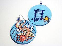 #Koi, #earrings, #painted, #fish, #japanese, #handmade, #jewelry